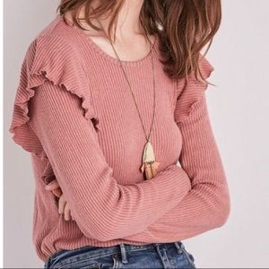 Lucky Brand Ribbed Ruffle Shoulder Long Sleeve (M)